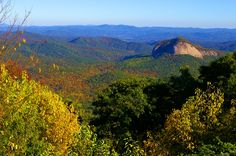 Looking Glass Rock from the Blue Ridge Parkway in North Carolina mountains