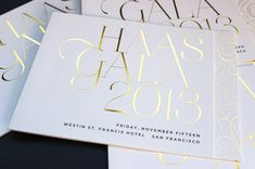 Haas Gala invitation suite by Jody Worthington. Gold foil and metallic ink. Gala Invitation, Corporate Invitation, Invitation Design, Invitation Cards, Wedding Invitations, Invitation Ideas, Gala Design, Event Design, Anniversary Logo