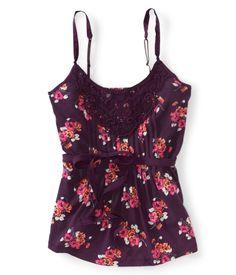 Belted Floral Crochet Tank