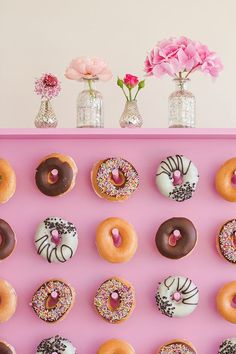 National Donut Day! Donut Wall Wedding Inspiration! | The Perfect Palette Donuts, Creative Wedding Inspiration, National Donut Day, Donut Party, Wedding Crafts, Casual Wedding, Holiday Parties, Wedding Colors, Wall