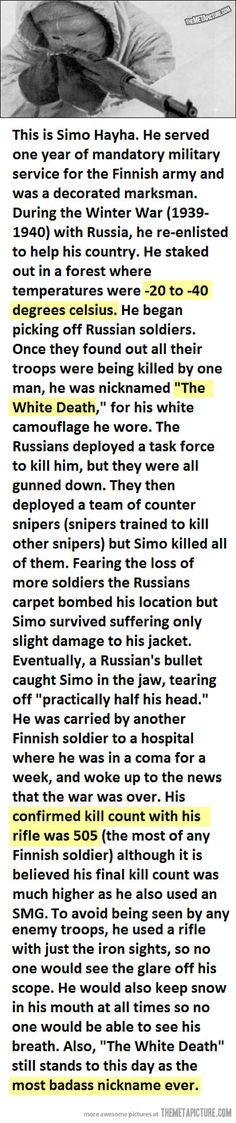 The most badass sniper in history…This is why it Rocks to be Finnish. ;)