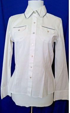 Gerard Darel White Button down Shirt Womens medium  8 M 40 French designer #GerardDarel #ButtonDownShirt #Career