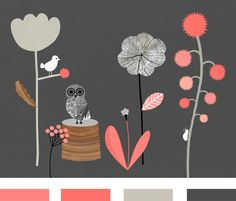 Watermelon Pink + Deep Gray Rather more sophisticated - would be good for an evening wedding with the darker greys