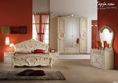 Luxury Classic Bedroom Decorating Woman Idea With White Red Painting Wall And Elegant Furniture Set And Cool Dresser Including Gray Fur Rug On Floor Plus Red Curtain Window Bedroom decoration ideas for women Bedroom design http://seekayem.com