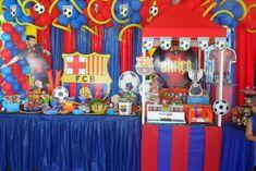 decoracion fiesta infantil futbol Messi, Party Themes, Barcelona, Birthday Cake, Soccer, Ideas, Globe Decor, Candy Stations, Events