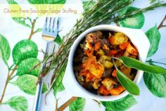 You'll never miss the bread in this yummy stuffing loaded with sweet potatoes, sausage, apples, raisins and almonds. PS: Style your holiday table with fresh herbs and citrus- it makes for a fragrant tablescape.