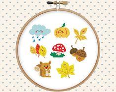 Cute autumn cross stitch pattern pdf - kawaii, funny - instant download - squirrel, cloud, pumpkin, leaves, mushroom, acorns, fall