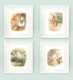 4 Vintage Peter Rabbit Prints. Beatrix Potter Prints. Fairytale Nursery Illustrations 3x4 Full Color Storybook Plates