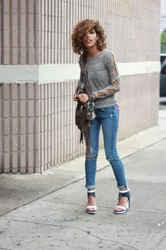 Shop this look on Kaleidoscope (sweater, jeans, wedges, bag) http://kalei.do/W9C973DkwceNA1hb