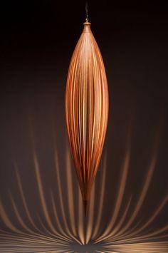 Plumb sculptural pendant light by Peter Pierobon. Made from yellow cedar and cherry. LOVE, LOVE