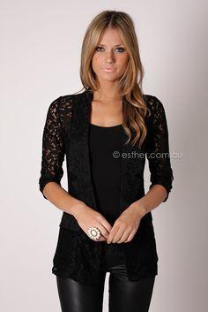 Veronika lace blazer - black