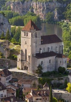 St Cirq Lapopie, France. The church in the marvelous medieval village.
