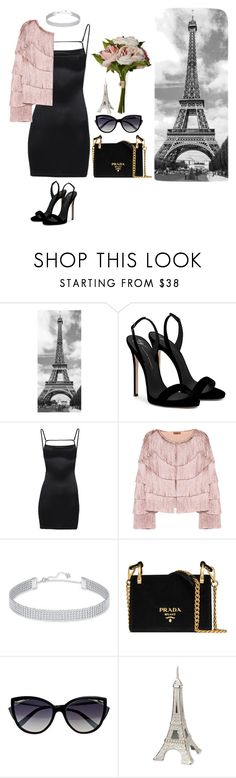 """""""midnight in paris"""" by oceauxnic ❤ liked on Polyvore featuring Brewster Home Fashions, Giuseppe Zanotti, Missoni, Swarovski, Prada, La Perla, House & Home, paris, Flowers and blackdress"""