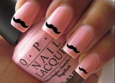 Nail art. Mustache