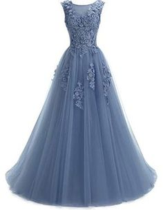 89cfc8357a1 New Ever Girl Women s Sweep Lace Appliques Scoop Collar Tulle A-Line Prom  Dresses online
