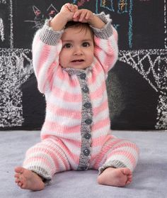 Royal Knit Onesie Free Knitting Pattern from Red Heart Yarns