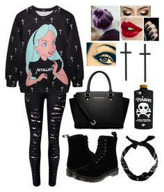 """Alice gone punk"" by blessed-with-beauty-and-rage ❤ liked on Polyvore featuring Dr. Martens, MICHAEL Michael Kors, New Look and Valfré"