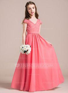 [US$ 77.49] A-Line/Princess V-neck Floor-Length Chiffon Lace Junior Bridesmaid Dress (009087908)