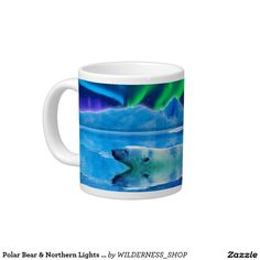 Polar Bear & Northern Lights Jumbo Soup Mug 20 Oz Large Ceramic Coffee Mug
