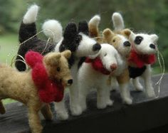 needle felted ornaments [MORE BossysFeltworks.  I need to be friends with these guys - I love the way they see the world.]