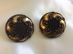 "Vintage Elegant Gold Tone Black Glass 1 3 8"" Swirl Clip Earrings | eBay"