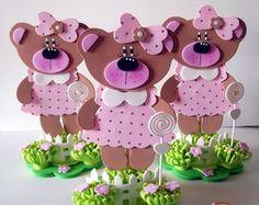 centro de mesa ursinha marrom e rosa