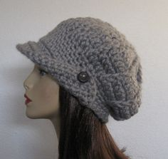 Crochet Slouchy Newsboy Cap Adult Gray by CreativeDesignsbyAmi, $24.00