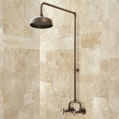in chrome - Baudette Exposed Pipe Wall Mount Shower with Rainfall Showerhead - 309.95
