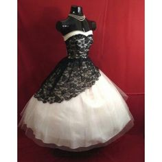 Vintage 1950's Short Wedding Dresses 2015 Black White Lace Gothic... ❤ liked on Polyvore featuring dresses and wedding dresses