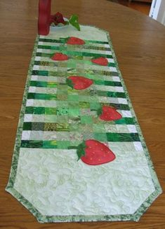 Strawberry Field Scrap Quilted Table Runner