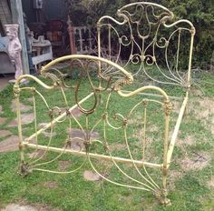 "Extremely unique brass and large ""claw"" feet make this iron bed a real collectors item. Antique Iron Beds, Wrought Iron Beds, Wrought Iron Decor, Iron Headboard, Headboards, Victorian Irons, Home Sofa, Cool Beds, Awesome Beds"
