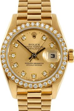 Gold Rolex with diamond details