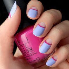 Mani+Monday:+Lavender+and+Fuchsia+Half+Moon+Nail+Tutorial