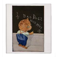 Binder - Vintage Office Decor  This white binder is decorated on the front with a vintage school illustration featuring a red tabby...