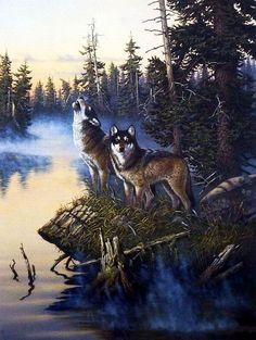 """Derk Hansen Night Stalkers Wolf Art Print 14.5/"""" x 5/"""""""