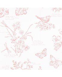 VRUM U BÄNK Tapet nr 22237 Namn: Nature Study Toile Blossom Tillverkare: Ralph Lauren Tryckår: Nyproduktion Storlek: 10 X 0.68 m Beskrivning: Blommor, Blad, Bladverk, Fjärilar, Fåglar, Övriga djur Bakgrundsfärg: Rosa Klister: Klister för papperstapet (Hernia 1870 eller motsvarande)