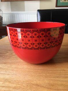 Vintage Finel for Arabia Orange Red Sunflower Design Enamel Bowl MCM | eBay