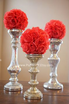 12 - 6 inch wide - CORAL - wedding pomanders - you choose ribbon color. $10 each. - coral salmon wedding color chart - salmon wedding pomanders - coral flower ball - isle decoration - reception table center piece clear glass vase candle sticks - custom order pomanders 6 inch wide $10 each - www.psalm117.etsy.com
