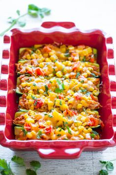 Loaded+Chicken+Enchilada+Zucchini+Boats+-+Skip+enchilada+wraps+and+use+zucchini+instead!!+Easy,+healthier+and+there's+so+much+FLAVOR+between+juicy+chicken+drenched+in+enchilada+sauce,+corn,+peppers,+and+CHEESE!!