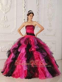 Wonderful Multi-color Quinceanera Dress Strapless Organza Appliques and Ruffles Ball Gown  http://www.fashionos.com  Satin red bodice with a strapless neckline and chic beaded embroidery that trims the bust makes you well-endowed. The waist shows off black band create a slimming silhouette. Full multicolored vertically layered organza skirt is for added flair. The colorful dress, the colorful life!