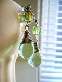 Watery Peridot Green Wire Wrapped Teardrop Earrings by Detroit Jewel, $28.00 #summer #beach #jewelry