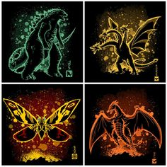 The 4 Titans All Godzilla Monsters, Horror Monsters, Original Godzilla, Godzilla Tattoo, Giant Monster Movies, Japanese Superheroes, Alien Vs Predator, Classic Monsters, King Kong