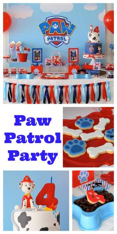 Paw Patrol Party details to LOVE…. ♥ Amazing Paw Patrol themed birthday cake with Marshall cake topper ♥ Paw Patrol paw shaped cookie pops ♥ Paw Patrol themed cake pops ♥ Fun party backdrop with clouds and Paw Patrol logo shield ♥ Navy, light blue and red ribbon bunting ♥ Such an adorable Paw Patrol themed … Read more...