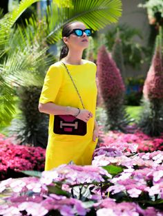 bittersweet colours, color blocking, piol dress neon yellow, Shoemint shoes, ASOS, mirrored sunglasses, eye cat sunglasses, cooee jewelry, H...