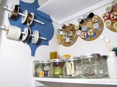 sewing center storage in craft closet