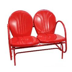 My Grandparents had These:)  Fun and Funky Vibrant Red Retro Tulip Outdoor Patio Double Glider Chair
