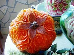 Top 60 Creative Pumpkin Carving Ideas for a Happy Halloween Veggie Art, Fruit And Vegetable Carving, Bento Japon, Amazing Pumpkin Carving, Pumpkin Carvings, Carving Pumpkins, Fruit Carvings, Creative Pumpkins, Food Sculpture