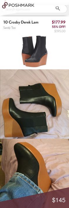Derek lam boots These are new excellent condition except two minor flaws one scrape to the right shoe one small Depression on the leather of the left shoe. never used too tight for me they are true to size calf leather pull on boots elastic goring very light easy to walk in these give you a ton of height with no pain😁 no original box but will be shipped appropriately😍🛍💕 10 Crosby Derek Lam Shoes