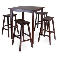Parkland 5-Piece Square Pub Table Set with 4 Saddle Seat Stools