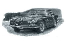 My tribute drawing to 1962 Maserati 5000 GT Coupe.